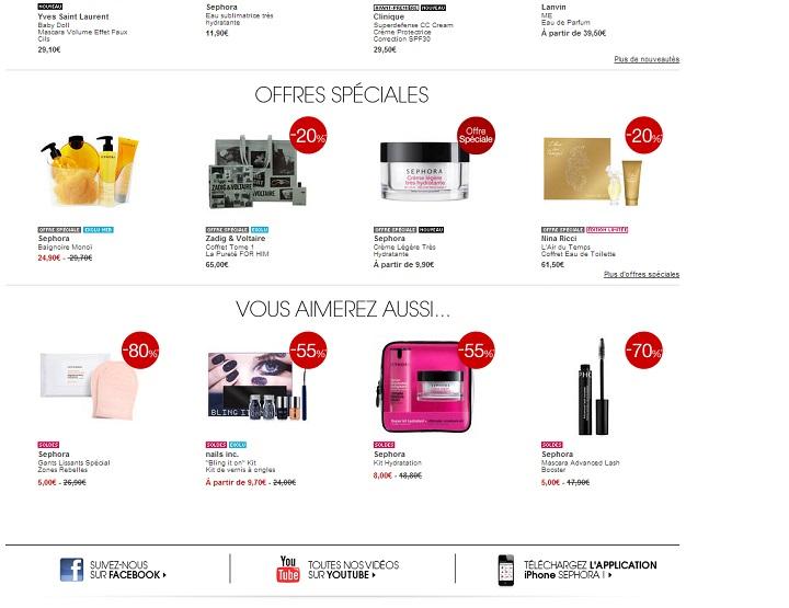 Sephora indique le taux de remise, l'ancien prix barré et le nouveau prix