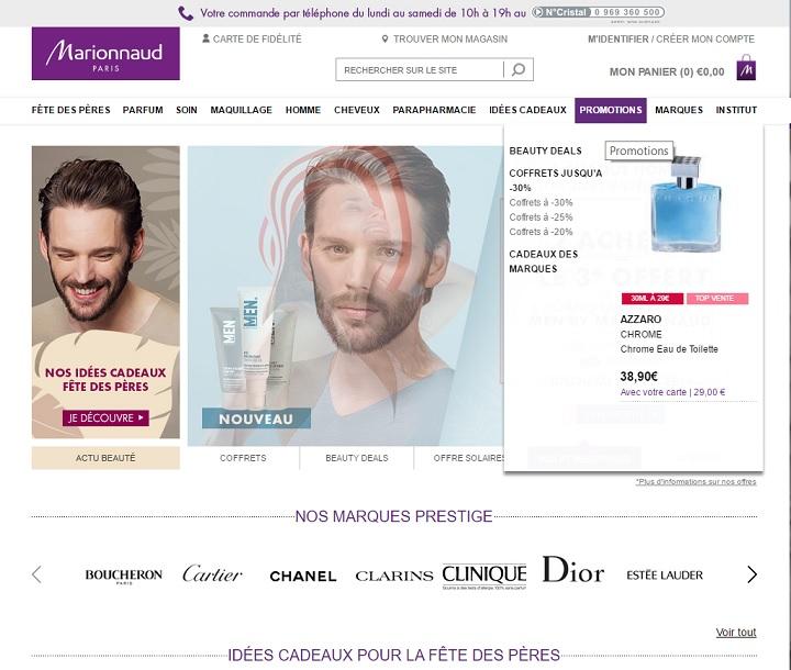 L'onglet promotions est présent toute l'année sur le e-commerce Marionnaud