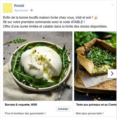 Carrousel d'images Facebook Ads
