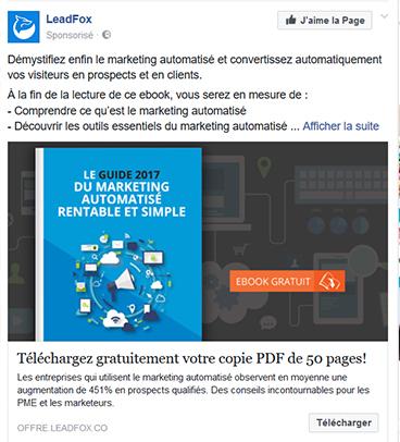 Appel à l'action Facebook Ads