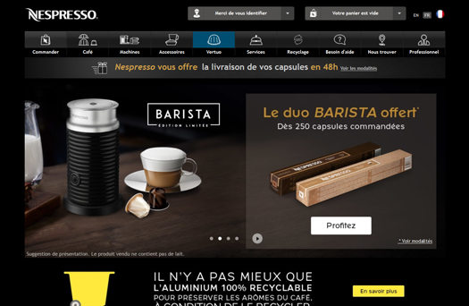 Webdesign marron Nespresso
