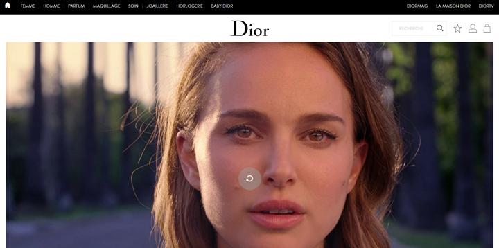 Webdesign noir Dior