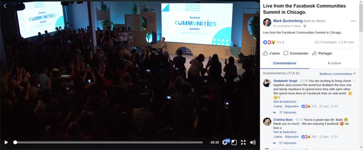 Contenu vidéo Facebook live