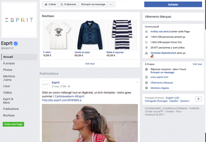 Marketing contenu boutique Facebook