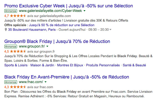 Exemple Black Friday Google Ads