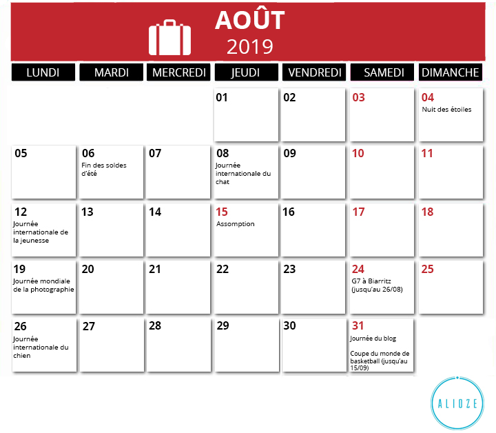 Calendrier Aout2019.Calendrier Marketing 2019 Des Evenements De L Annee Alioze