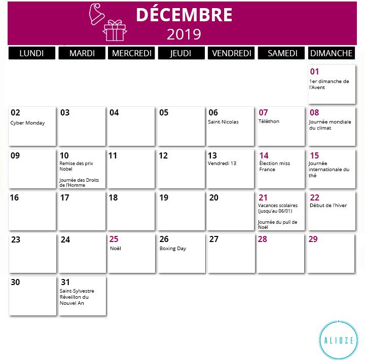 Calendrier Mensuel Decembre 2019.Calendrier Marketing 2019 Des Evenements De L Annee Alioze