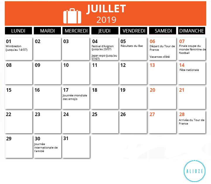 Calendrier De Juillet.Calendrier Marketing 2019 Des Evenements De L Annee Alioze