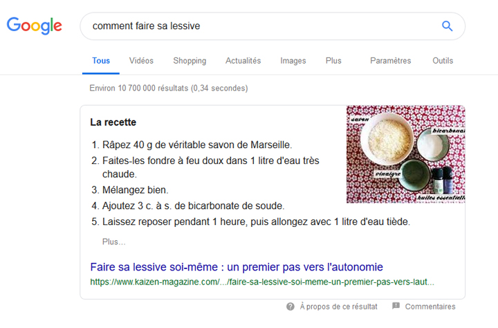 exemple featured snippet liste ordonnée