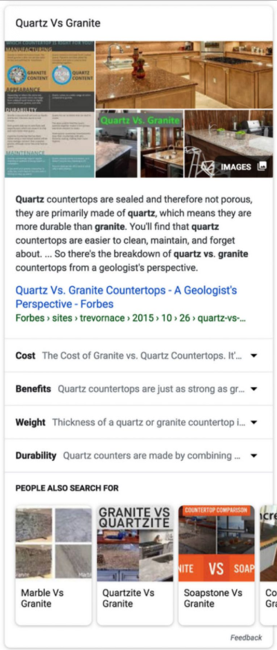 Exemple expandable featured snippets