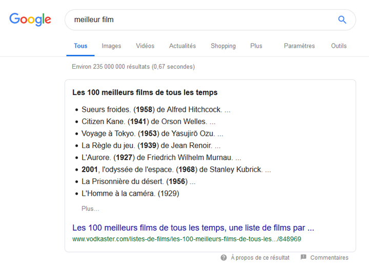 Exemple featured snippet liste a puces